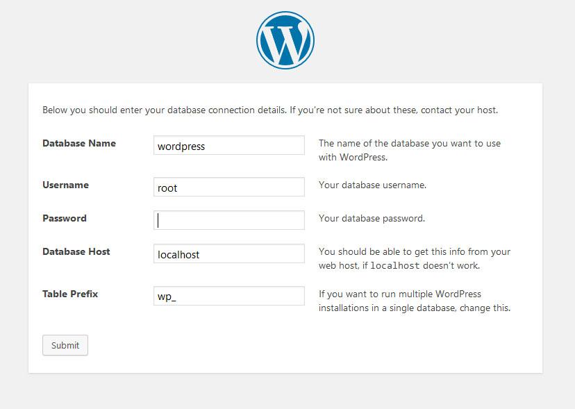 wordpress installation step 1